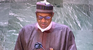 A photo taken on September 24, 2021, shows President Muhammadu Buhari addressing world leaders at the 76th Session of the United Nations General Assembly (UNGA76) in New York, the United States